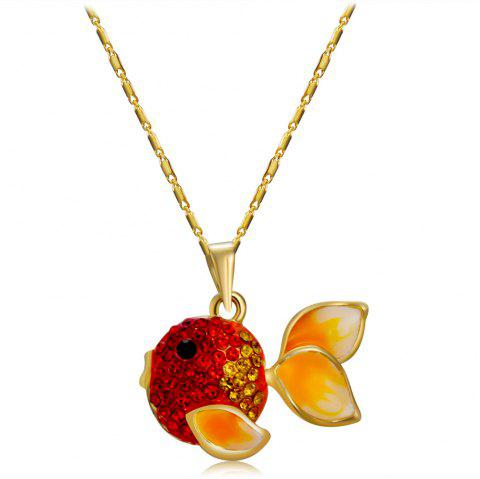 Red Goldfish with Zircon Pendant Necklace - GOLD