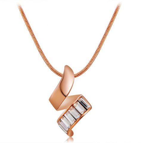 Red Copper Spiral Crystal Pendant Necklace - COPPER