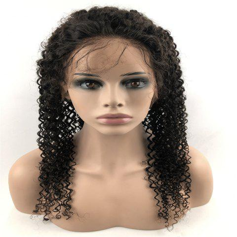Human Hair Wig Lace Front Wig Kinky with Baby Hair Natural Hairline for Women - NATURAL BLACK 20INCH