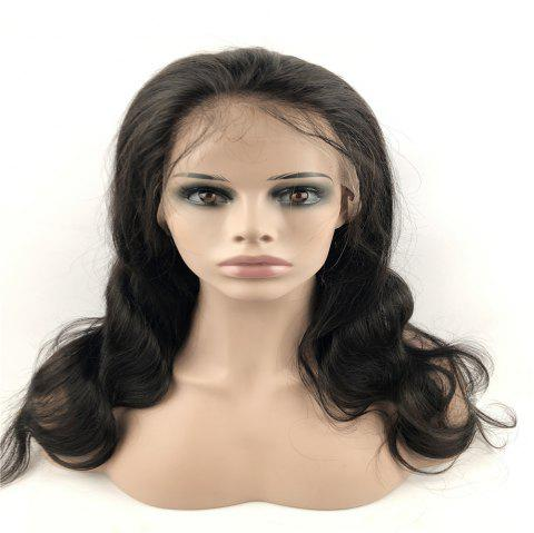 Human Hair Wig Full Lace Wig Curly with Baby Hair Natural Hairline for Women - NATURAL BLACK 18INCH
