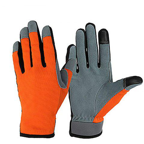 Buckskin Two-layer Touch Screen Outdoor Sports Riding Gardening Gloves - ORANGE M