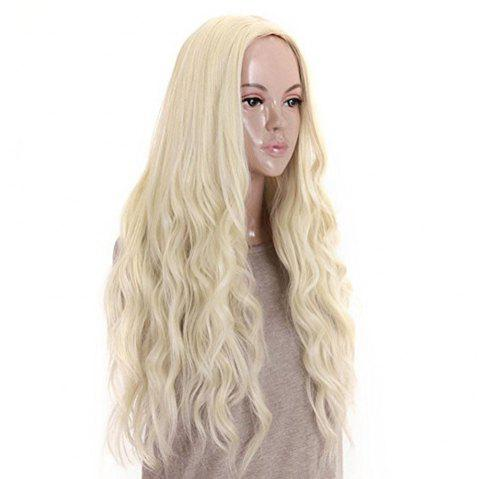 Long Curly Wavy Premium Heat Friendly Synthetic Hair wig Platinum Blonde Daily - BLONDE 26INCH