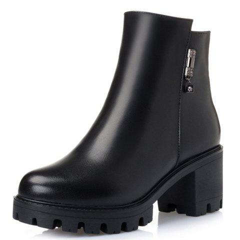 Wbzao Winter Warm Thick with Leather Wool Ankle Boots for Women - BLACK EU 35