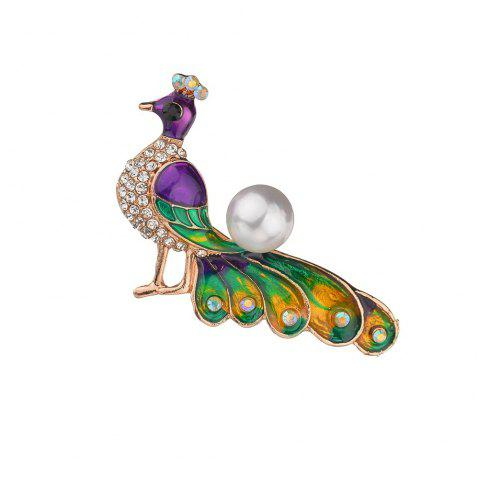 Luxurious Diamond Multicolor Peacock Brooch - multicolor A 1PC