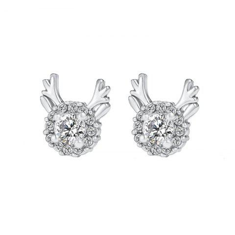 Simple Creative Cute Zircon Elk Earrings Christmas Gift - SILVER 1 PAIR