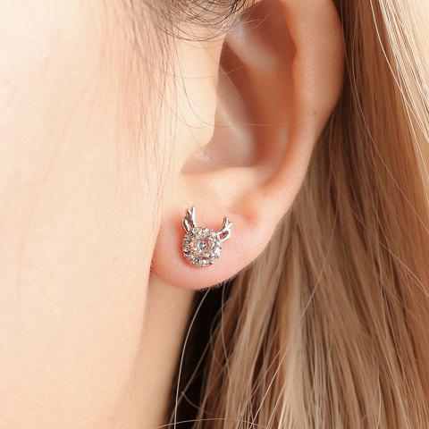 Simple Creative Cute Zircon Elk Earrings Christmas Gift - GOLD 1 PAIR