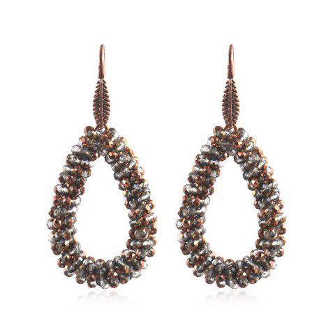 New Accessories Handmade Drop Shaped Leaves Crystal Drop Earrings - TAUPE 1 PAIR