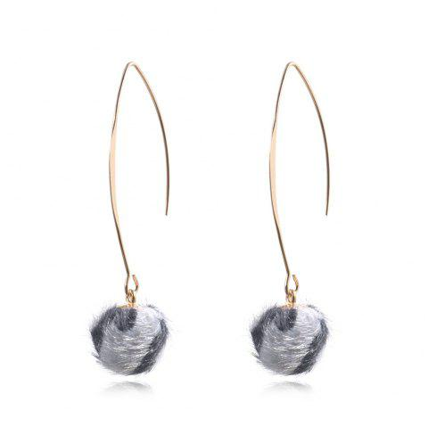 Fashion Popular New Leopard Otter Hair Ball Creative Drop Earing - LIGHT GRAY 1 PAIR