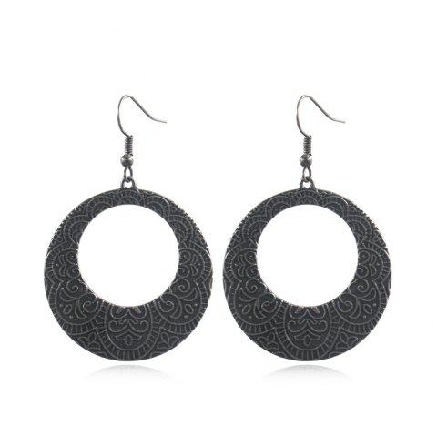 Ethnic Style Creative Geometric Irregular Alloy Carving Drop Earrings - GRAPHITE BLACK