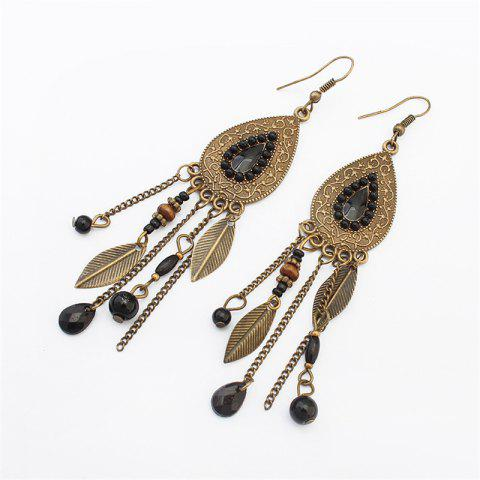 European Style Fashion Vintage Leaf Drop Tassel Earrings - BLACK 1 PAIR