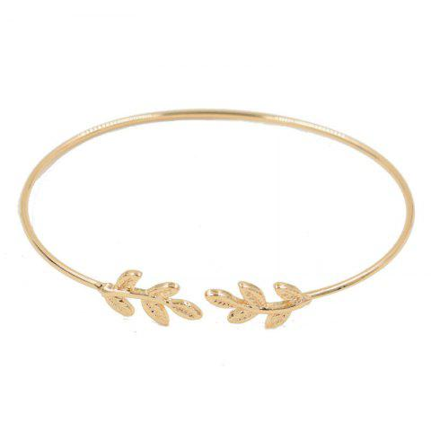 European Style Fashion Simple Leaves Open Bracelet - GOLD 1PC