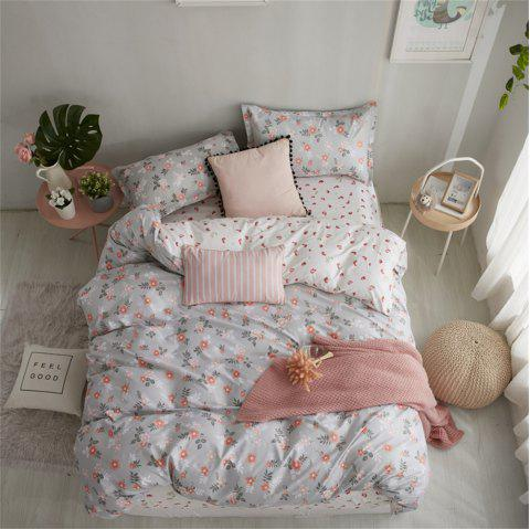 OMONNES Household Aloe Cotton Quilt Set with Multiple Flowers - GRAY GOOSE KING SIZE