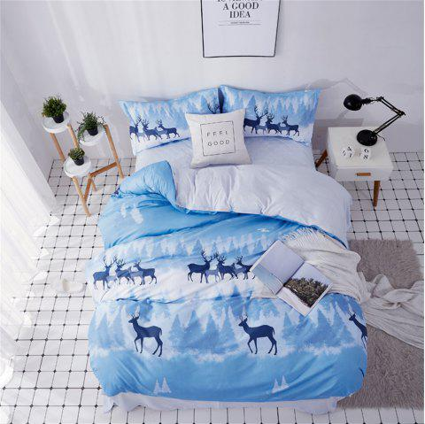 OMONNES Household Aloe Cotton Quilt Set Single Phantom Deer Shadow - CRYSTAL BLUE QUEEN SIZE