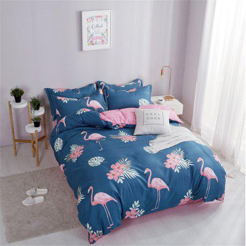 OMONNES Ensemble de couette en coton Aloe Household simple Firebird - Bleu de Soie FULL