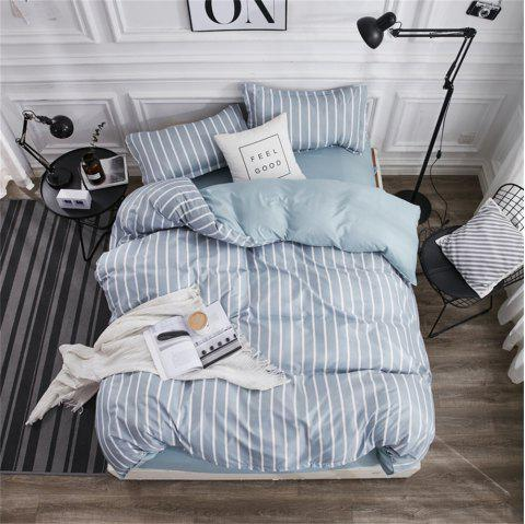 OMONNES Individual Blue Stripes for Home Aloe Quilt Sets - BABY BLUE FULL