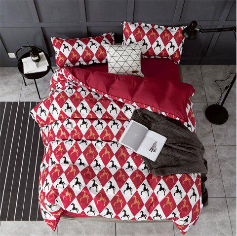 OMONNES Household Aloe Vera Cotton Quilt Set Single Rome Holiday - RED WINE KING SIZE