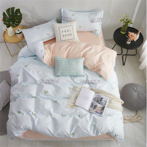 OMONNES Aloe Vera Cotton Quilt Set Single Green Bud for Household Use - AZURE FULL