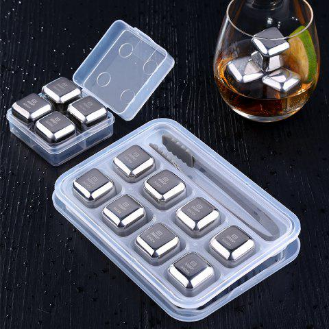 Stainless Steel Ice Cubes Set Ice Wine Stone Metal Ice Wine Whiskey Ice Cubes - SILVER 4PCS