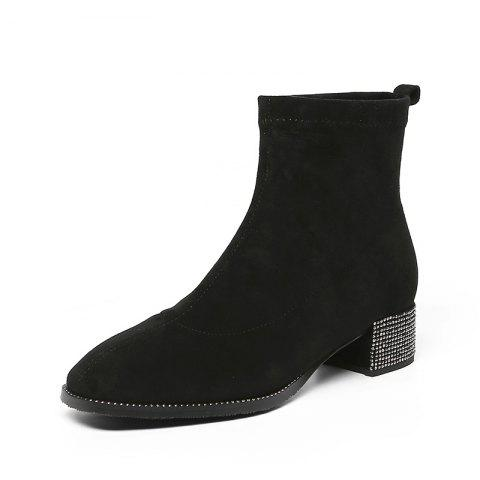 Fashionable Dress Ankle Boots with Comfortable Square Head Contracted All-Purpos - JET BLACK EU 35
