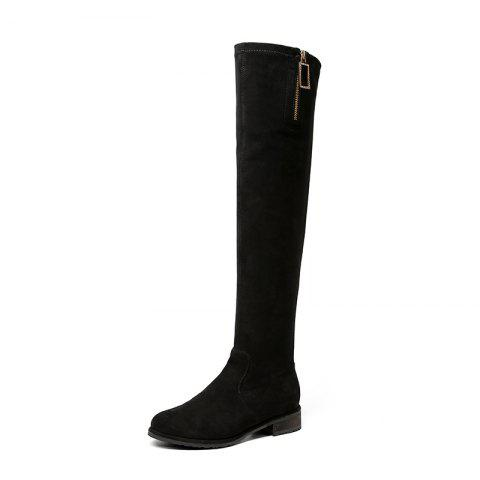 New Fashion Low HeeShoes Round Head LWomen'S High Boot - BLACK EU 35
