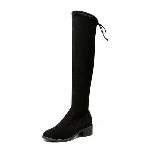 New Women'S Boots with High Heels Sample Sheep Wool - BLACK EU 36