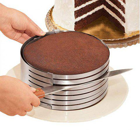 Adjustable 9 To 12 Stainless Steel Layer Cake Slicer Kit Mousse Mould Slicing - SILVER 1PC