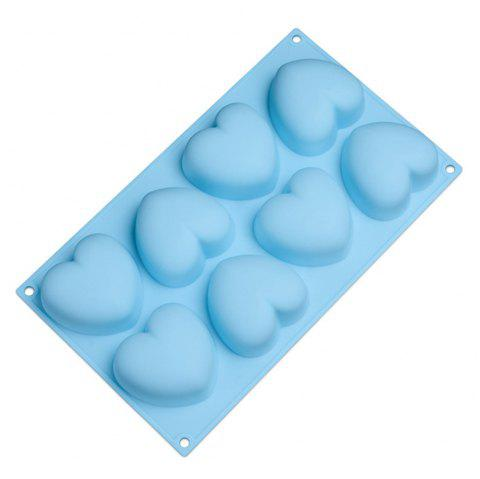 8 Holes Heart Shaped Silicone Mold For Chocolate Cake Jelly Pudding - BLUE