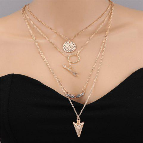 Fashionable Women's Angel Wings Multi-Layer Necklace - GOLD