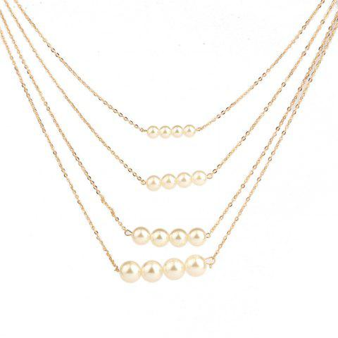 Noble and Elegant Women's Four-Layer Pearl Necklace - GOLD
