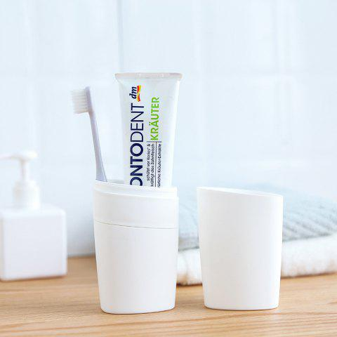 Creative Simple Travel Portable Mouth Cup Toothbrush Toothpaste Box - WHITE 1PC