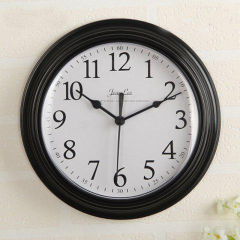 Contracted Sitting Room Bedroom Home Round Clock Wall Clock Battery Digital Cloc - BLACK 1PC