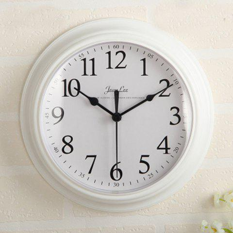 Contracted Sitting Room Bedroom Home Round Clock Wall Clock Battery Digital Cloc - WHITE 1PC