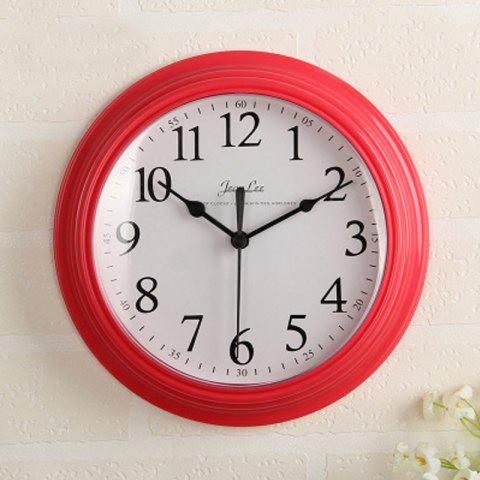 Contracted Sitting Room Bedroom Home Round Clock Wall Clock Battery Digital Cloc - RED 1PC