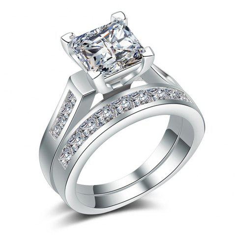 Charhoden Women'S Zirconia 6 Row Pave Round Cut Couple Combination Ring - SILVER US 8