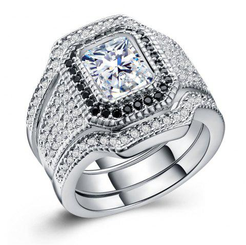 Hot Style Zircon Rings Are Plated with 925 Silver Exaggerated Three-Piece Rings - SILVER US 8