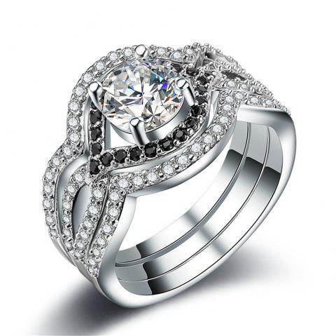 Zircon Plated with 925 Silver Ring Individual Three-Piece Set - SILVER US 7