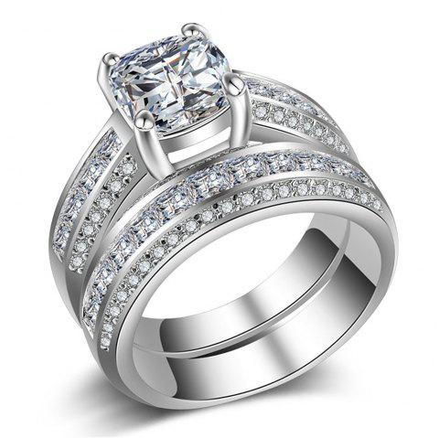 Charhoden Women'S Zirconia Plated 925 Silver Gorgeous Fashion Couple Ring - SILVER US 10