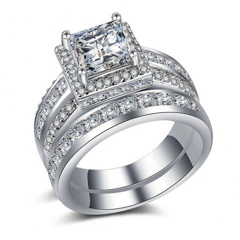 Hot Style Pair Ring Wedding Engagement Ring Gold-Plated Silver Couple Ring - SILVER US 6