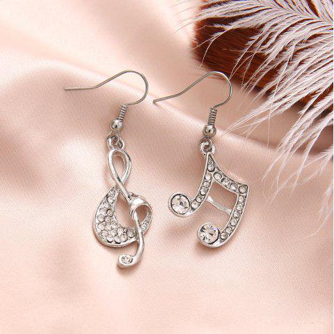 Gold Silver Music Crystal Dangle Earrings for Girl Dangle Party Fashion Jewelry - SILVER 1 PAIR