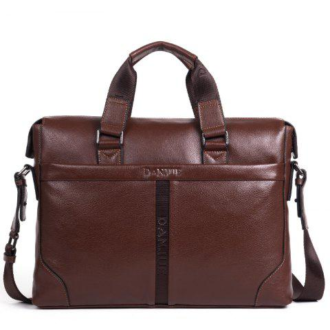 Full Head Layer Cowhide Official Document Portable Business Men'S Bag - BROWN