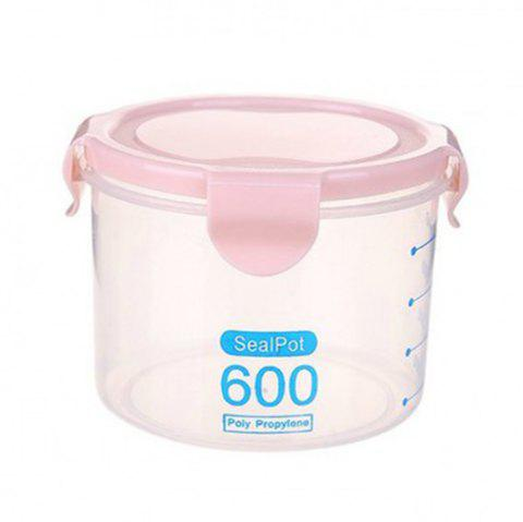 Transparent Plastic Sealed Tank with Scale Food Storage Tank Preservation Box - LIGHT PINK S