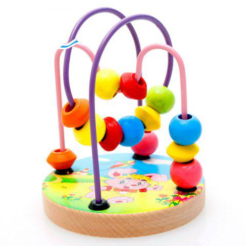 Early Educational Wooden Blocks Cartoon Animal Round Bead Kids Birthday Gift - multicolor A