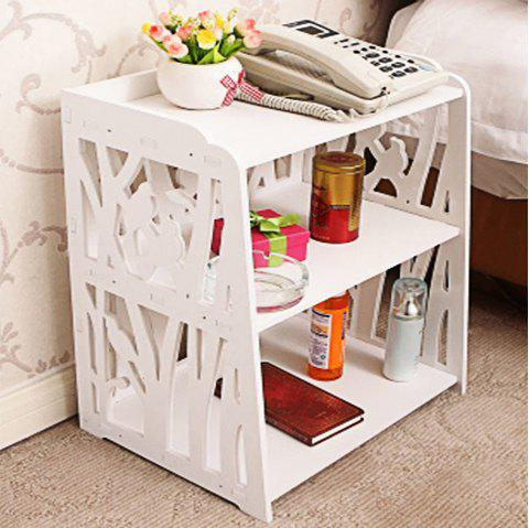 Ordinary Two-Story Bedside Table Shelf Storage Rack - WHITE