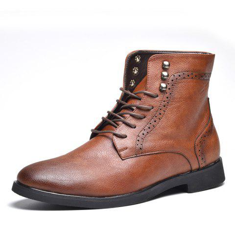 COSIDRAM Men Wear Autumn and Winter Ankle Boots - BROWN EU 44