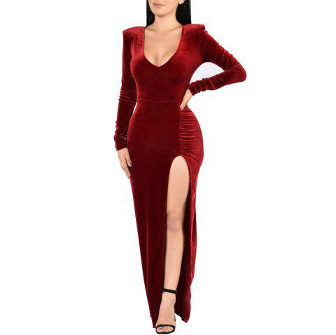 Women's Deep V-neck Long Sleeve Solid Color High Split Suede Maxi Dress - RED WINE L