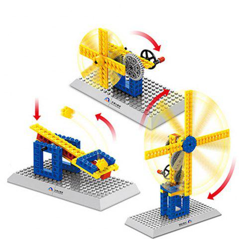 3 in 1 Mechanical Building Blocks Windmill Model Collection MOC Brick Toys Gift - multicolor