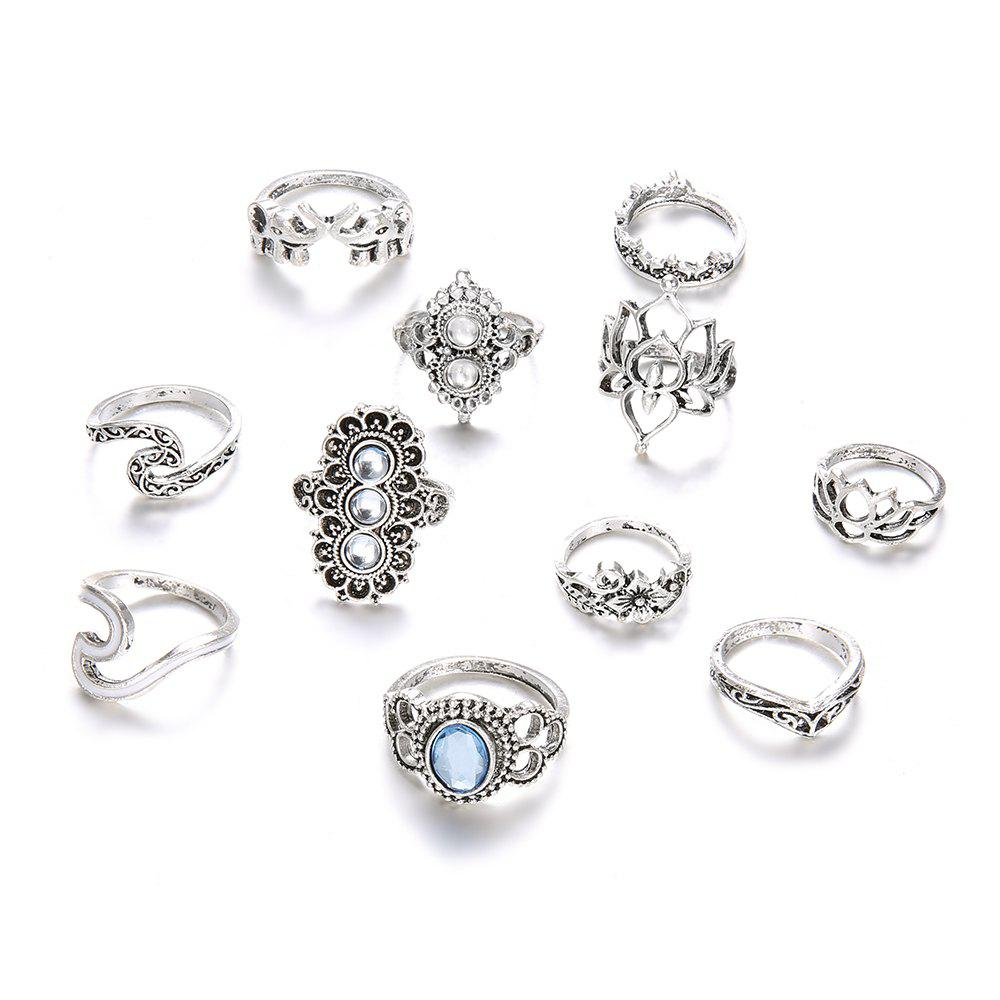 Image of 11 PCS/Set Opal Midi Rings For Women Antique Crown Lotus Wave Boho Ring