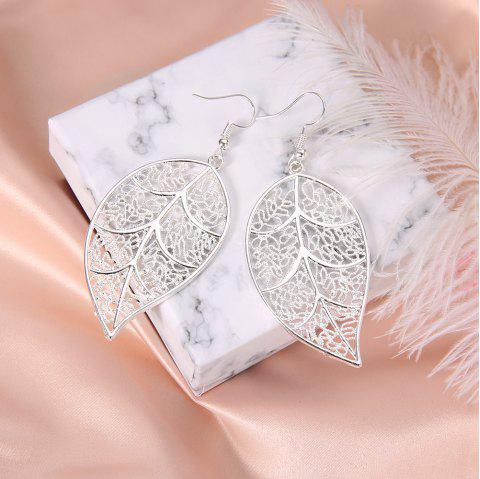 Silver Plated Openwork Tree Leaf Earrings Creative Exaggerated Earrings Jewelry - SILVER 1 PAIR