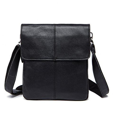 MVA Leather Men'S Slanted Satchel Monoshoulder Bag - BLACK