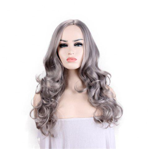 Lady Heat Resistant Synthetic Lace Front Ombre Wigs Long Wave Wig - GRAY